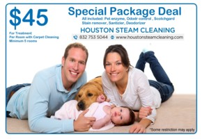 only 45 dollars for super packge deal of stain and carpet stem cleaning