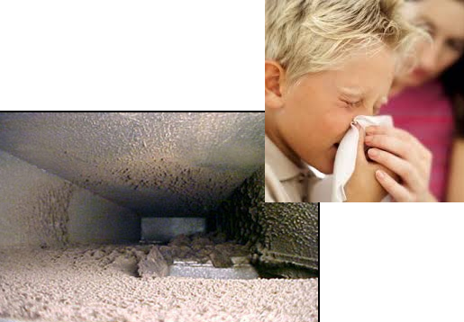 child with allergies and air ducts full of dust