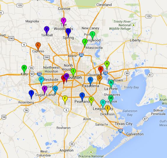Houston Steam Cleaning locations map